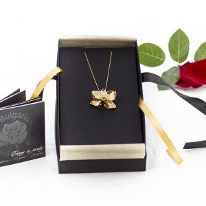Колие от позлатена орхидея